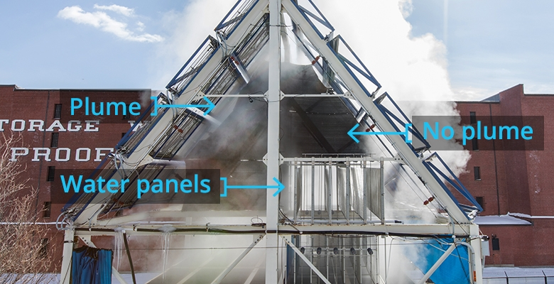 Water-saving technology installed on a quadrant of the cooling towers of MIT's Nuclear Reactor Lab