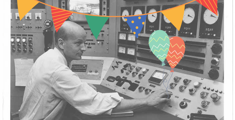 MIT Nuclear Reactor Lab's first director, Theos Thompson, operating the MITR-I, with banner and balloon clipart