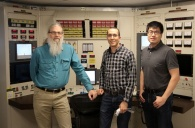 NRL researchers Mike Ames, David Carpenter, and Kaichao Sun in the TREAT facility control room