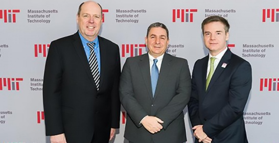 From left to right: Martin Schmidt, MIT Provost; Bill McCarthy, Deputy Director of EHS and Reactor Radiation Protection Officer; Israel Ruiz, MIT Executive Vice President and Treasurer.